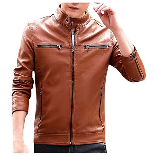 Dwevkeful Herren Biker Lederjacke Reine Farbe Echtleder Echt Leder Jacket ReißVerschluss Mantel Sweatjacke Gesteppte Jahrgang Jacke Vegan Klassischer