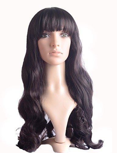 longues perruques brunes synthétiques de fibre capless bang côté bouclés haute qualité résistant à la chaleur