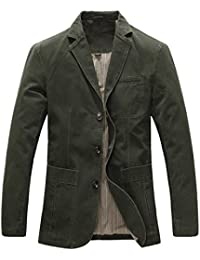 6f460ed48b Allthemen Mens Casual Blazer Slim fit Long Sleeve Jacket Washed Cotton  3-Button Casual Suits
