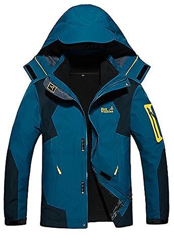 Men's Plus Size 3-in-1 Outdoor Coats Soft Shell Waterproof hooded Sport Jacket Denim Blue UK M (Asian Tag