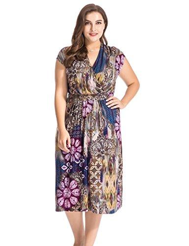 Chicwe Damen Große Größen Kappenhülsen Blumenkleid mit Gürtel 52, Multi (Mutterschaft Strickjacke Empire-taille)