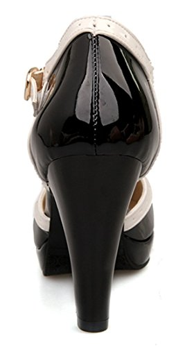 YE Damen Geschlossene Runde Zehe 8cm Absatz High Heels Plateau T-Strap Bogen Blockabsatz Riemen Lack Leder Pumps mit Schnallen Frühling Sommer Schuhe (39EU, Schwarz) - 4