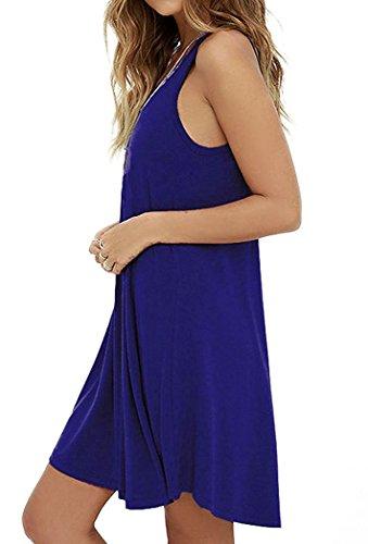 VIISHOW Damen Mini kleid Rundhals Langarm Stretch Basic Kleider Royal Blue