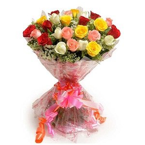 Floralbay Mix Roses Bouquet Fresh Flowers in Cellophane Wrapping (Bunch of 25)