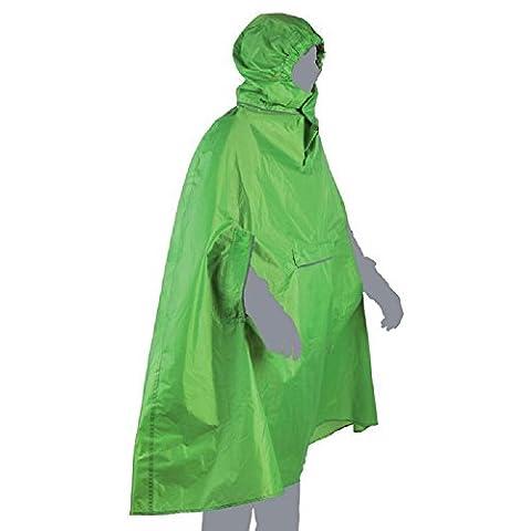 Waterproof Rain Poncho Lightweight Reusable Raincoat with Windproof Hood & Reflective Stripes - Green