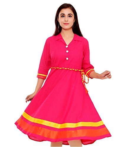 PINK COTTON kurtis FOR WOMEN(BLUE_SEMI STICHHHED_FREE SIZE)  available at amazon for Rs.179
