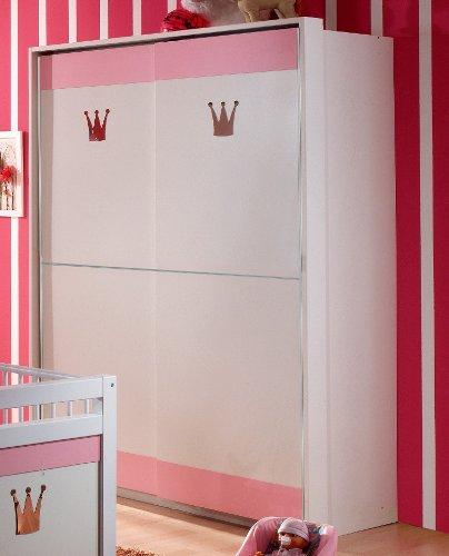 Wimex Schwebetürenschrank 304770 Cinderella, Weiß, Abs. Rosé, 139 cm Breite,