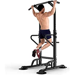 DlandHome Power Tower Tour de Musculation Barre de Traction Ajustable Station Musculation Dips Station Chaise Romaine Station de tractions dips abdominaux, accoudoirs, Fitness