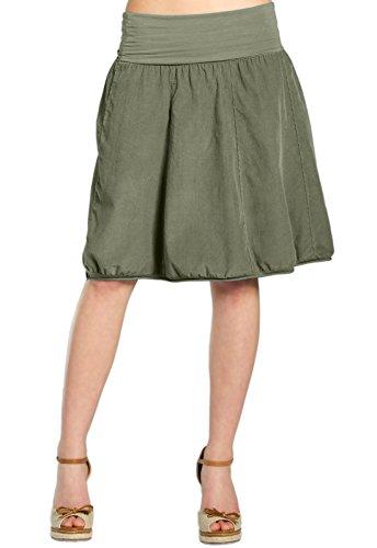 CASPAR RO004 Damen Winter Cord Rock knielang, Farbe:oliv grün;Größe:One Size (Grüne Stretch-cord)