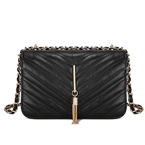 Damen Tasche Europa und die Vereinigten Staaten neue feste Farbe 2019 neue rhombische Kette Tasche Schulter diagonal Handtasche (Schwarz, 23 * 15 * 7.5)