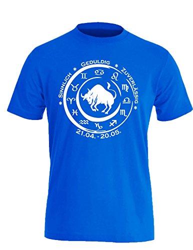 Sternzeichen Stier - Astrologie - Herren Rundhals T-Shirt Royal/Weiss