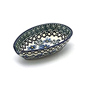 Polish Pottery Spoon Rest – Blue Chicory
