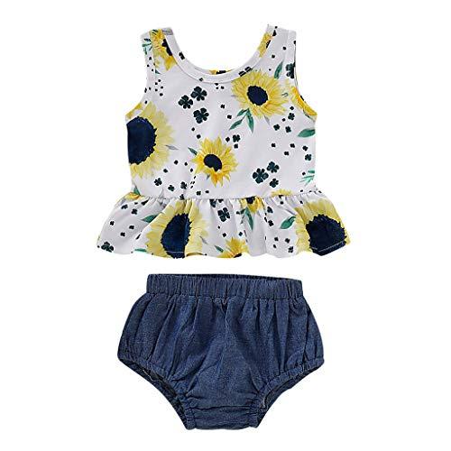 ädchen Rundhals Ärmellose Sonnenblumedruck Rüschen Oberseiten Top + Denim Kurze Hosen 2PC Outfit Set ()