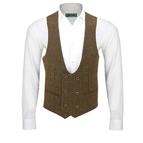 Xposed - Men's 3 suit (American, vest and trousers, sold separately), tweed, brown Brown Waistcoat-U Neck-Oak Brown Chest UK 54 EU 64