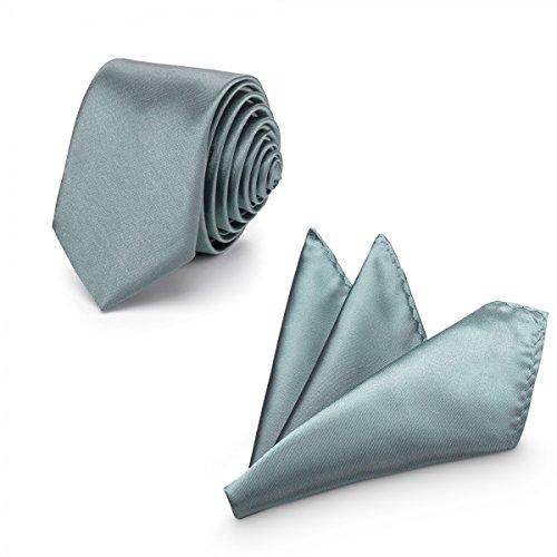 Rusty Bob - Krawatte mit Einstecktuch (in vielen Farben) - für die Verlobung, die Hochzeit - Schlips mit Taschentuch für das Sakko - 2er-Set - Grau (Grau Krawatten Grüne Seide)