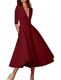 OMZIN Femmes Deep V Cocktail Banquet robes demoiselle d'honneur robe plus grand