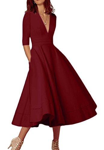 OMZIN Damen Cocktailkleid Vintage Partykleid Kleid 1950er Wadenlanges Plus Größe Abendkleid Burgundy XXXL (Kleid Schwarz Rot Größe Und Plus)