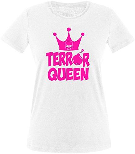 EZYshirt® Terror Queen Damen Rundhals T-Shirt Weiss/Pink