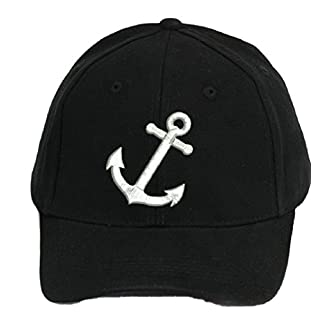 4sold 100% Cotton Ancient Mariner, Captain Cabin Boy Crew First Mate Yachting Baseball Cap Inscription Lettering Black White (Anchor)