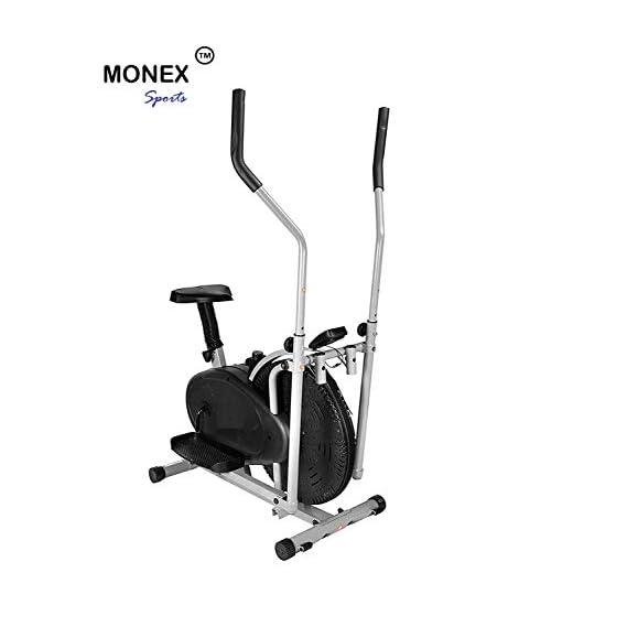 Monex Multi Orbitrek Cardio Workout Dual Action Trainer with Seat 4 in 1 Exercise Bike (MonexOrbitrekBlack, Multicolour)