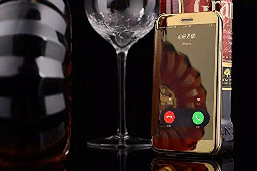 Apple Iphone 6/6S Hülle,Nnopbeclik Hybrid TPU+PC Schutzhülle Cover Case Flip Bookstyle Muster Galvanik Electroplating mit Fenster Ansicht Window Mirror Handytasche Etui Stoßdämpfend Spiegel Glitzer St window+Golden