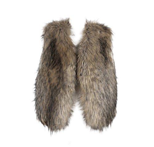 Braune Fell Weste (VLUNT Fell Jacke Damen Winter Jacke Fellmantel Parka Kunstpelz Mantel Damen Fellweste Weste Frauen Lederweste Gilet)