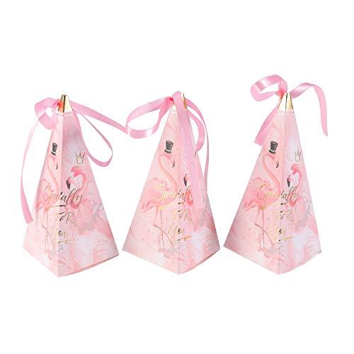 Amosfun 50Pcs Hochzeit Candy Boxes Flamingo Geschenkboxen mit Band für Baby Shower Birthday Party (Bevorzugungen Personalisiert Band Hochzeit Für)
