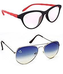 cd24abfac2 Aventus Combo of Summer Blue Aviator   Clear Red Cateyes Sunglasses for  Women -free size