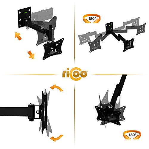 RICOO Monitor-Halterung R02-11 Monitor-Halter Wandhalterung-TV Schwenkbar Neigbar LCD LED Wandhalter fuer Flach-Bildschirm PC-Monitor 43-49-54-61-68cm / 17′ 19′ 22′ 24′ 27′ Zoll | VESA max. 100 x 100 universell | Wandabstand nur 68 mm | - 3