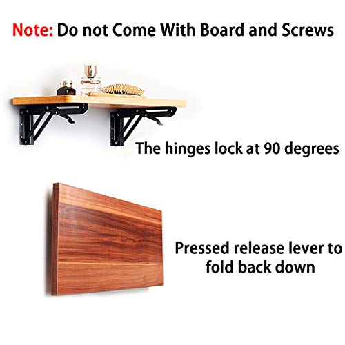 BTSKY 2 Pcs 40cm Black Metal Triangle Folding Shelf Bracket Support Wall Bracket, Max. Load Approximately 60KG/132lb (Board and Screws are Not Included) Img 2 Zoom