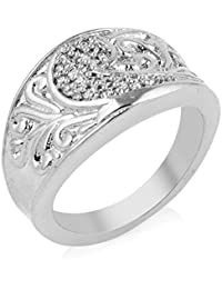 Florishkart Silver Plated Alloy Metal Ring Wedding Ring Collection For Girl & Womens