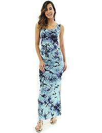 PattyBoutik Mama Damen Ärmellos Maxi-Kleid mit U-Ausschnitt und Schlitz an  Seiten e0990274d2