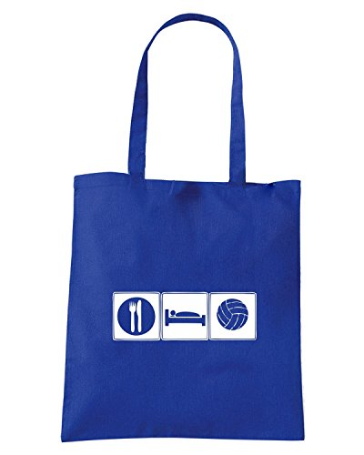 T-Shirtshock - Borsa Shopping OLDENG00801 eat sleep volleyball Blu Royal