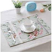 Ruanyi Mantel Individual, diseño de Encaje, patrón de Flores, Aislamiento, Almohadilla,