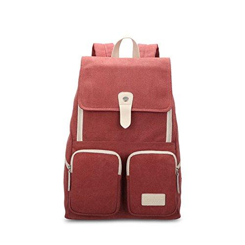 Bwiv Rucksäcke Canvas Unisex Schulrucksack Vintage Schultertasche Daypack Outdoor Backpack Damen Herren Tasche für Retro Reisetaschen Lässige B · Braun A · Rot