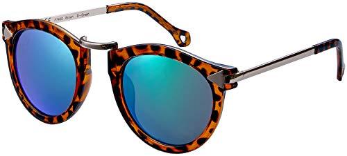 La Optica B.L.M. UV400 CAT 3 CE Damen Sonnenbrille Rund ohne Nasensteg - Glänzend Leo (Gläser: Grün verspiegelt)_LO15 Br B-Green