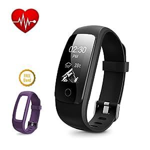 DBPOWER IP67 - Fitness Tracker per frequenza cardiaca, bracciale smart impermeabile, con Activity Tracker, orologio con contacalorie, contapassi + fascia di ricambio per Android e iOS (Black + Purple)