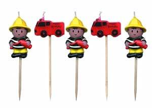 Fireman Mini Pick Candles (Pack Of 5)