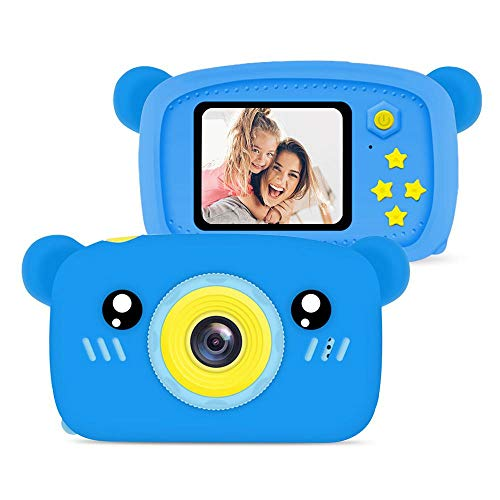 Kids Digital Camera for Girls Boys, 1080P HD Rechargeable Video Camera with Lanyard, 12MP Mini SLR Supports Small Classic Games Camcorder Toy Gifts for Toddlers Age 3-12