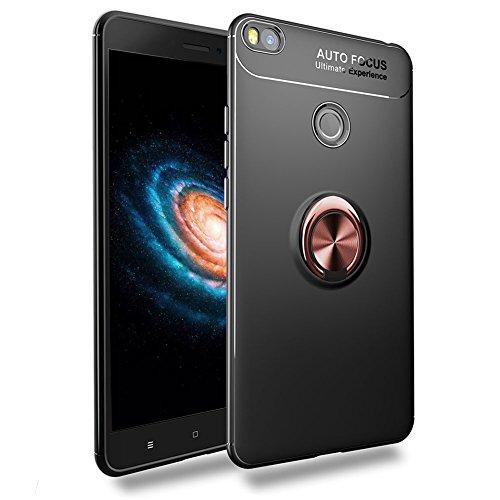 Funda Xiaomi Mi MAX 2, Multi-Funcional Anillo Kickstand 360 Grados Giratorio Ring Grip con Soporte Magnético Coche, Gel TPU de Silicona Bumper Flexible y Delgada Teléfono Case Carcasa