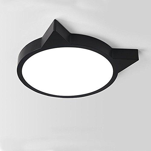 Nordic Deckenleuchte Silhouette Cat Head LED Pendelleuchte Kreative Eisen Schlafzimmer Wohnzimmer Lichter (Perle schwarz, φ60cm)
