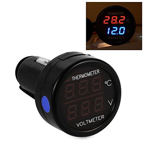 XCSOURCE Monitor 2 en 1 LED Termómetro Voltímetro Pantalla Digital Doble Encendedor Cigarrillo Con Fusible Para Automóvil Coche Camioneta Azul MA394