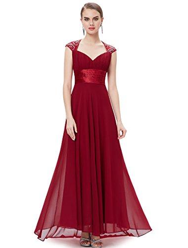 Ever Pretty Damen V-Ausschnitt Lange Chiffon Abendkleider Festkleider 09672 Burgundy