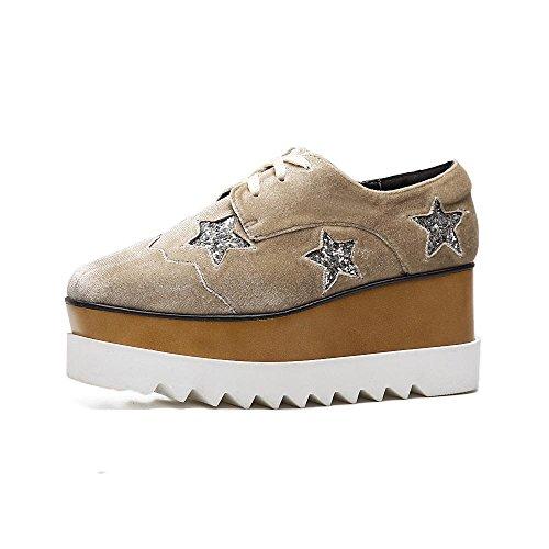 LvYuan Scarpe donna / Stile preppy / Materiale scamosciato / Ufficio & carriera / Tacco a forma di cuore / Comfort / Testa quadrata / Chiusura a punta / Lace-up Oxfords / Outdoor Casual flatform shoes beige