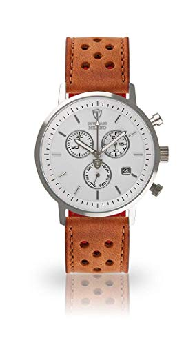 DETOMASO Milano Mens Wristwatch Chronograph Analogue Quartz Light Brown Racing Leather Strap White dial DT1052-B-838