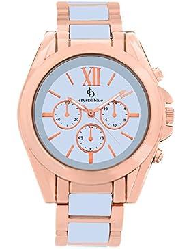 Crystal blue Damen-Armbanduhr Damenuhr rosegold Damen Uhren Armbanduhr rose gold Armband Damenuhren Analog Quarz...
