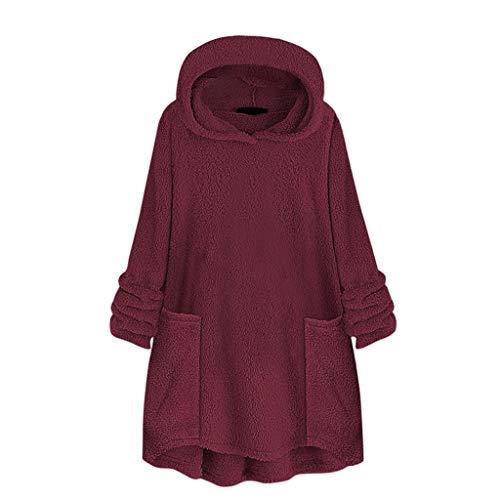 LEXUPE Damen Herbst Winter Übergangs Warm Bequem Slim Lässig Stilvoll Frauen Langarm Solid Sweatshirt Pullover Tops Bluse Shirt(Wein,XX-Large)