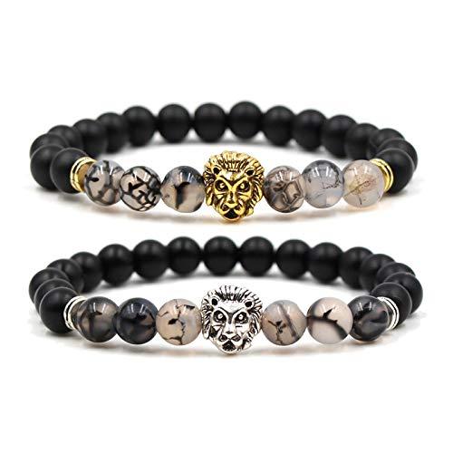 Lafeil Partner Armbänder Distance Bracelet Aus Verschiedene Edelsteine Löwelkopf Gold Silber Schwarz Armbänder 2 St. -