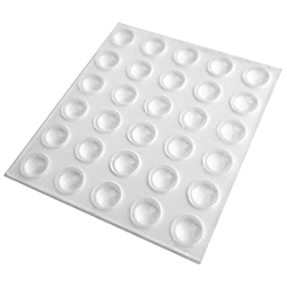 30 Small Clear Self Adhesive Domed Rubber Feet, Bumper Stops for Coasters, Furniture, Glass, Crafts - 6.5mm x 2mm