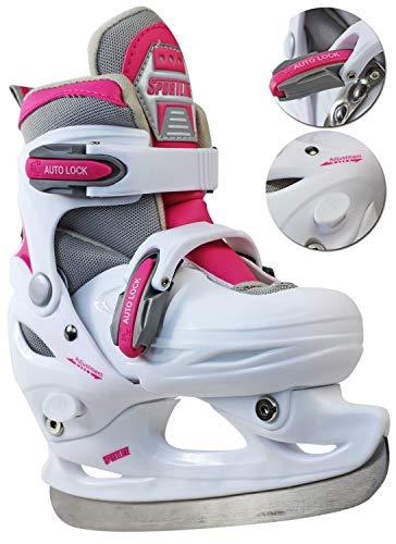 Nick and Ben Kinder Schlittschuhe Freizeitschlittschuh Eislaufschuh verstellbar 30-33 Weiss/Pink -